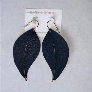 14k Gold Leather Sarah Briggs Brienne Leaf Earring